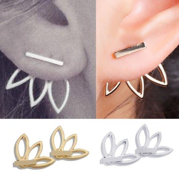 Gold Lotus Flower Jacket Stud Pierced Earrings